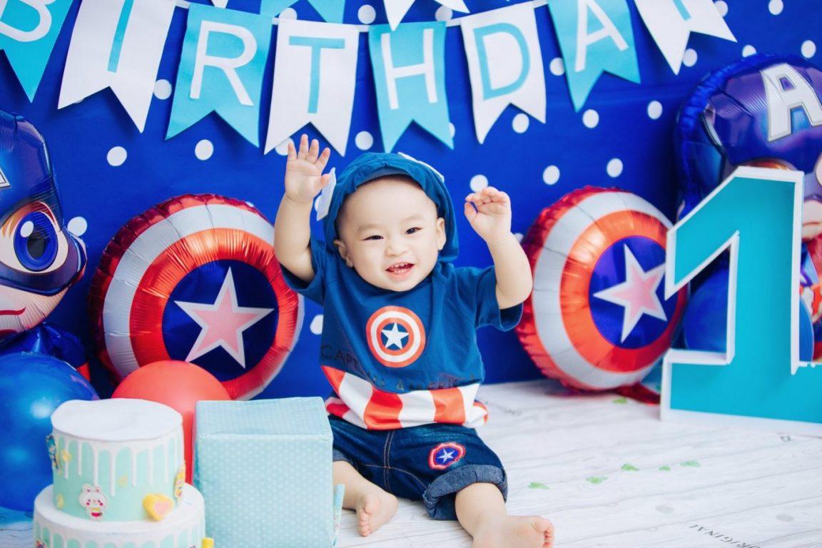 Hình ảnh trang trí sinh nhật tiệc thôi nôi bé trai