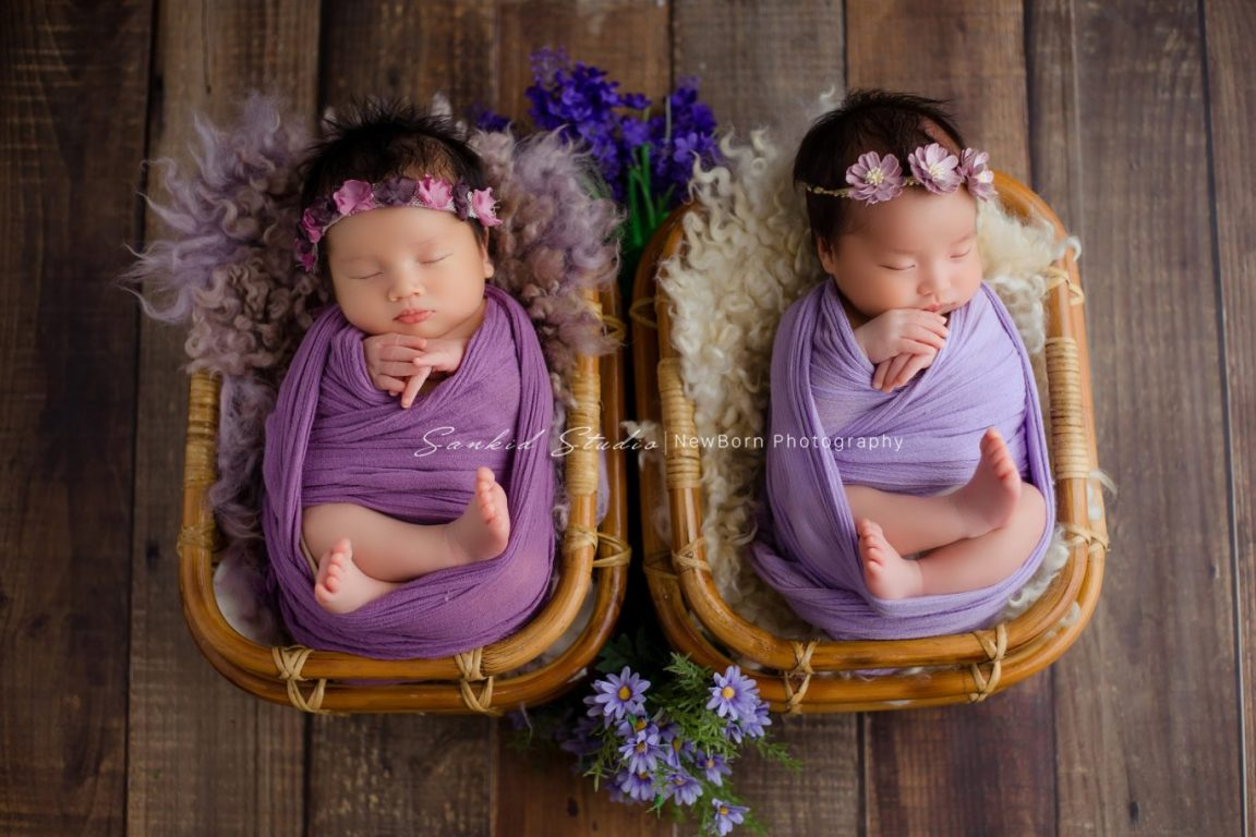 Nôi là đạo cụ chụp ảnh cho bé sơ sinh lý tưởng và cực đẹp