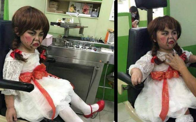 Rùn rợn khi bé hóa thân nhân vật Halloween Annabell